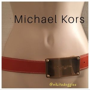 Michael Kors Orange Belt W/ Large Plate Buckle